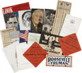 Political:Miscellaneous Political, Franklin D. Roosevelt: Large Archive of Political Tracts, Speeches,and Campaign Memorabilia Circa 1940 and 1944.. -Over thi... (Total:30 Items)