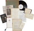 Political:Miscellaneous Political, Franklin D. Roosevelt: Lot of Fifteen Memorial Items Including HydePark Service.. -1945. Various sizes.. -General wear and ... (Total:15 Items)