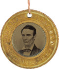 Political:Ferrotypes / Photo Badges (pre-1896), Lincoln & Hamlin: Pristine 1860-Dated Campaign Ferrotype....