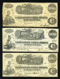 Confederate Notes:1862 Issues, Three Train Notes $100 1862.. ... (Total: 3 notes)