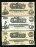 Confederate Notes:1862 Issues, Trio of T40's $100 1862.. ... (Total: 3 notes)