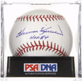 "Autographs:Baseballs, Harmon Killebrew ""HOF 84"" Single Signed Baseball, PSA Mint+ 9.5...."