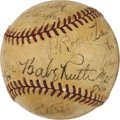 Autographs:Baseballs, 1938 Brooklyn Dodgers Team Signed Baseball with Ruth. ...
