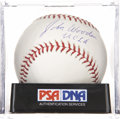 Autographs:Baseballs, John Wooden Single Signed Baseball Mint+ PSA 9.5....