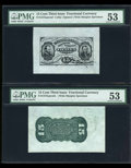 Fractional Currency:Third Issue, Fr. 1272SP 15c Third Issue Wide Margin Pair PMG About Uncirculated 53.... (Total: 2 notes)