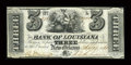 Obsoletes By State:Louisiana, New Orleans, LA- Bank of Louisiana $3 Sept. 19, 1861 G6. ...