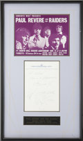 Music Memorabilia:Autographs and Signed Items, Paul Revere and the Raiders Autograph....