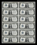 Small Size:Silver Certificates, Fr. 1604 $1 1928D Silver Certificates. Uncut Sheet of 12. About Uncirculated.. ...