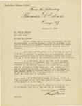 Autographs:Inventors, Thomas A. Edison Typed Letter Signed...