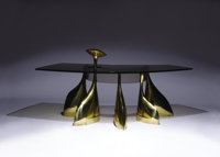 PHILIPPE HIQUILY (French, b. 1925) Exceptional Office of Semi-Circular Form (Desk with Lamp), circa 196