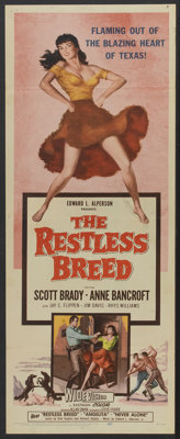 "The Restless Breed (20th Century Fox, 1957). Insert (14"" X 36""), Title Lobby Card and Lobby Cards (3) (11""..."