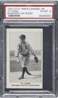 Baseball Cards:Singles (Pre-1930), 1921 E121 American Caramel-Series of 80 Ty Cobb, Manager PSA EX-MT 6....