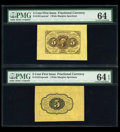 Fractional Currency:First Issue, Fr. 1231SP 5c First Issue Wide Margin Pair PMG Choice Uncirculated64.... (Total: 2 items)