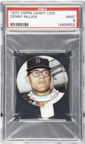 Baseball Cards:Singles (1970-Now), 1970 Topps Candy Lids Denny Mclain PSA Mint 9....