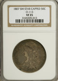 Bust Half Dollars, 1807 50C Capped Bust, Small Stars VF35 NGC....