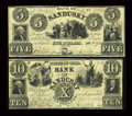 Obsoletes By State:Ohio, Sandusky, OH- Bank of Sandusky $5, $10 1848 G6a, G8a Wolka 2382-10,15. ... (Total: 2 notes)
