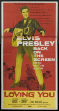 "Movie Posters:Elvis Presley, Loving You (Paramount, R-1959). Three Sheet (41"" X 81""). ElvisPresley...."