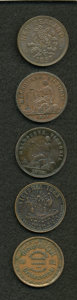 Australian Tokens, Group of Five Merchant Tokens From Australia and New Zealand....(Total: 5 tokens)