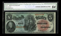 Large Size:Legal Tender Notes, Fr. 64 $5 1869 Legal Tender CGA Choice Uncirculated 64....