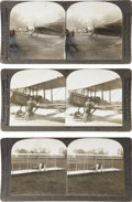 Autographs:Military Figures, Collection of 15 Aviation Stereo Cards. Splendid stereo card images showing early airplanes in flight, planes landing on wa... (Total: 15 Items)