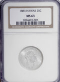 Coins of Hawaii: , 1883 25C Hawaii Quarter MS63 NGC. NGC Census: (126/363). PCGSPopulation (248/518). Mintage: 500,000. (#10987)...