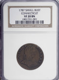 Colonials, 1787 COPPER ETLIB INDE Small Bust Head Right Connecticut Copper VF20 NGC. PCGS Population (3/8). (#346...