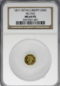 California Fractional Gold, 1871 50C Liberty Octagonal 50 Cents, BG-924, R.3, MS64 ProoflikeNGC....