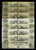 Obsoletes By State:Louisiana, New Orleans, LA- Bank of Louisiana $50 G22a (3), G22b (3), G22c. ... (Total: 7 notes)