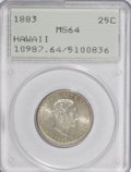 Coins of Hawaii: , 1883 25C Hawaii Quarter MS64 PCGS. PCGS Population (288/230). NGCCensus: (171/192). Mintage: 500,000. (#10987)...