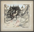 Movie/TV Memorabilia:Original Art, Glenn Ford Owned Artwork - Christmas Scene....