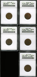Civil War Merchants, Five Uncirculated ANACS-Certified Civil War Tokens.... (Total: 5tokens)
