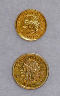 California Gold Charms, 1914 Montana Gold Half Dollar and One Dollar Coins of the West.... (Total: 2 pieces)