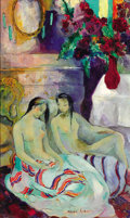 Fine Art - Painting, European:Modern  (1900 1949)  , MAGDA ANDRADE (SCHLOTMANN) (b. 1912). Double-sided canvas: . TwoSeated Women in an Interior with Chest, Flowers, and Mirr...