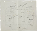 Autographs:U.S. Presidents, Franklin D. Roosevelt Drawings of Floor Plans.... (Total: 2 Items)