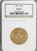 Liberty Eagles: , 1861 $10 AU53 NGC. NGC Census: (58/305). PCGS Population (27/83).Mintage: 113,100. Numismedia Wsl. Price for NGC/PCGS coin...