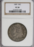 Bust Half Dollars: , 1809 50C Normal Edge VF30 NGC. NGC Census: (17/365). PCGSPopulation (23/315). Mintage: 1,405,810. Numismedia Wsl. Pricefo...