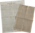 Autographs:Celebrities, Medical Articles from Early Nineteenth Century Newspapers.... (Total: 2 Items)