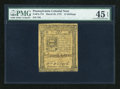 Colonial Notes:Pennsylvania, Pennsylvania March 25, 1775 14s PMG Choice Extremely Fine 45EPQ....