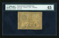 Colonial Notes:Pennsylvania, Pennsylvania October 1, 1773 2s PMG Choice Extremely Fine 45....