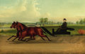 Paintings, JOHN J. MCAULIFFE (American, 1830-1900). Mr. Kip Driving a Pair of Trotters. Oil on canvas. 26 x 40 inches (66.0 x 101.6...
