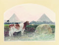 Texas:Early Texas Art - Modernists, KERMIT OLIVER (American, b. 1943). Piebald Cow in a Landscapewith Pyramids. Watercolor on paper. 20-1/2 x 25-1/2 inches...