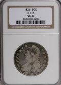 Bust Half Dollars: , 1826 50C VG8 NGC. O-115. NGC Census: (1/1475). PCGS Population(2/1172). Mintage: 4,000,000. Numismedia Wsl. Price for NGC...