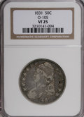 Bust Half Dollars: , 1831 50C VF25 NGC. O-105. NGC Census: (6/1194). PCGS Population(7/1119). Mintage: 5,873,660. Numismedia Wsl. Price for NG...