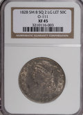 Bust Half Dollars, 1828 50C Square Base 2, Small 8, Large Letters XF45 NGC. O-111.PCGS Population (25/191). (#6151)...