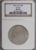 Bust Half Dollars: , 1811/10 50C VG10 NGC. O-101. NGC Census: (2/80). PCGS Population(0/77). Numismedia Wsl. Price for NGC/PCGS coin in VG10:...