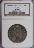 Bust Half Dollars: , 1828 50C Square Base 2, Small 8, Large Letters VF30 NGC. O-115.PCGS Population (8/246). (#6151)...
