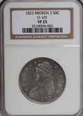 Bust Half Dollars: , 1823 50C Broken 3 VF25 NGC. O-101. NGC Census: (3/27). PCGSPopulation (1/39). Numismedia Wsl. Price for NGC/PCGS coin in...