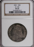 Bust Half Dollars: , 1821 50C VF35 NGC. O-106. NGC Census: (11/387). PCGS Population(23/384). Mintage: 1,305,797. Numismedia Wsl. Price for NG...