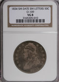 Bust Half Dollars: , 1834 50C Small Date, Small Letters VG8 NGC. O-109. PCGS Population(2/481). (#6166)...