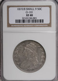 Bust Half Dollars: , 1819/8 50C Small 9 XF40 NGC. O-101. NGC Census: (17/205). PCGSPopulation (15/123). Numismedia Wsl. Price for NGC/PCGS co...